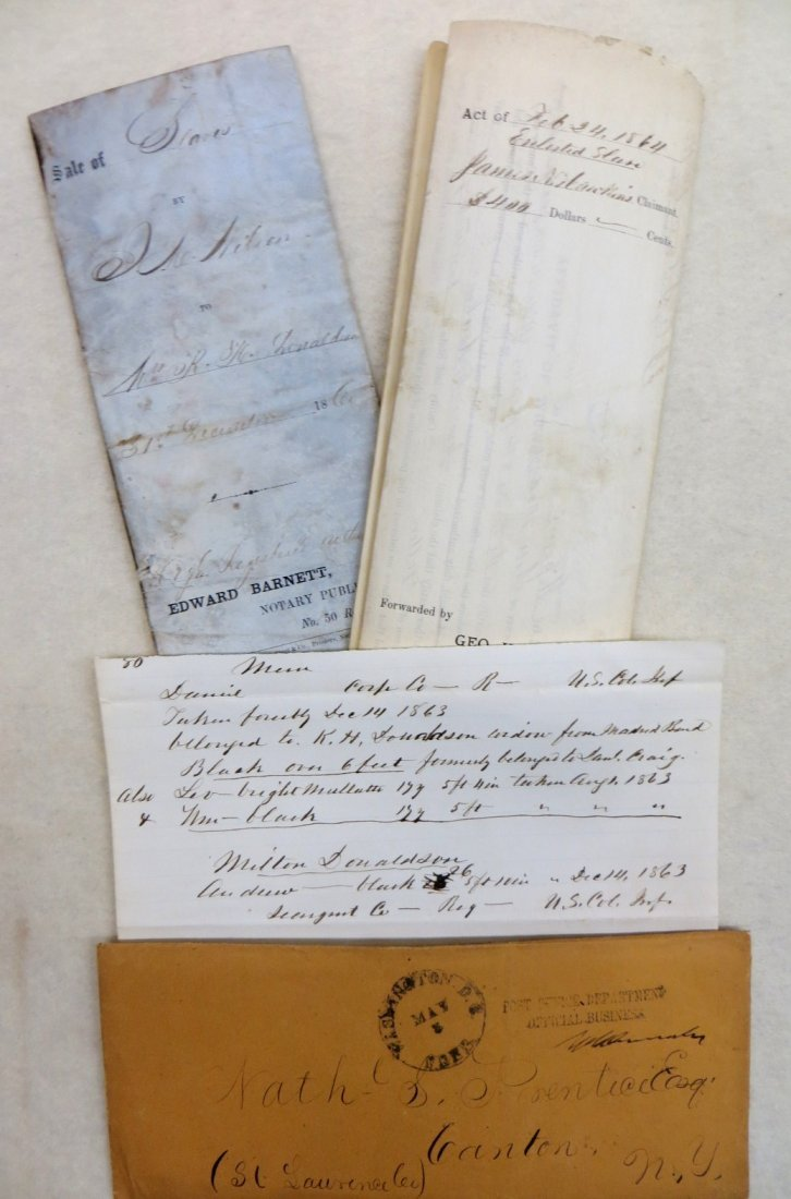 Three early slave related documents including: Document