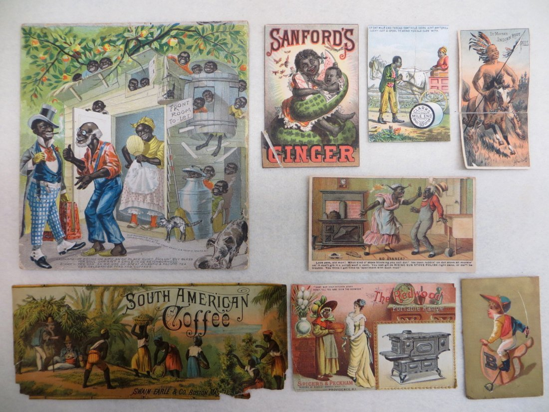Collection of 5 Black Americana trade cards, 2 other