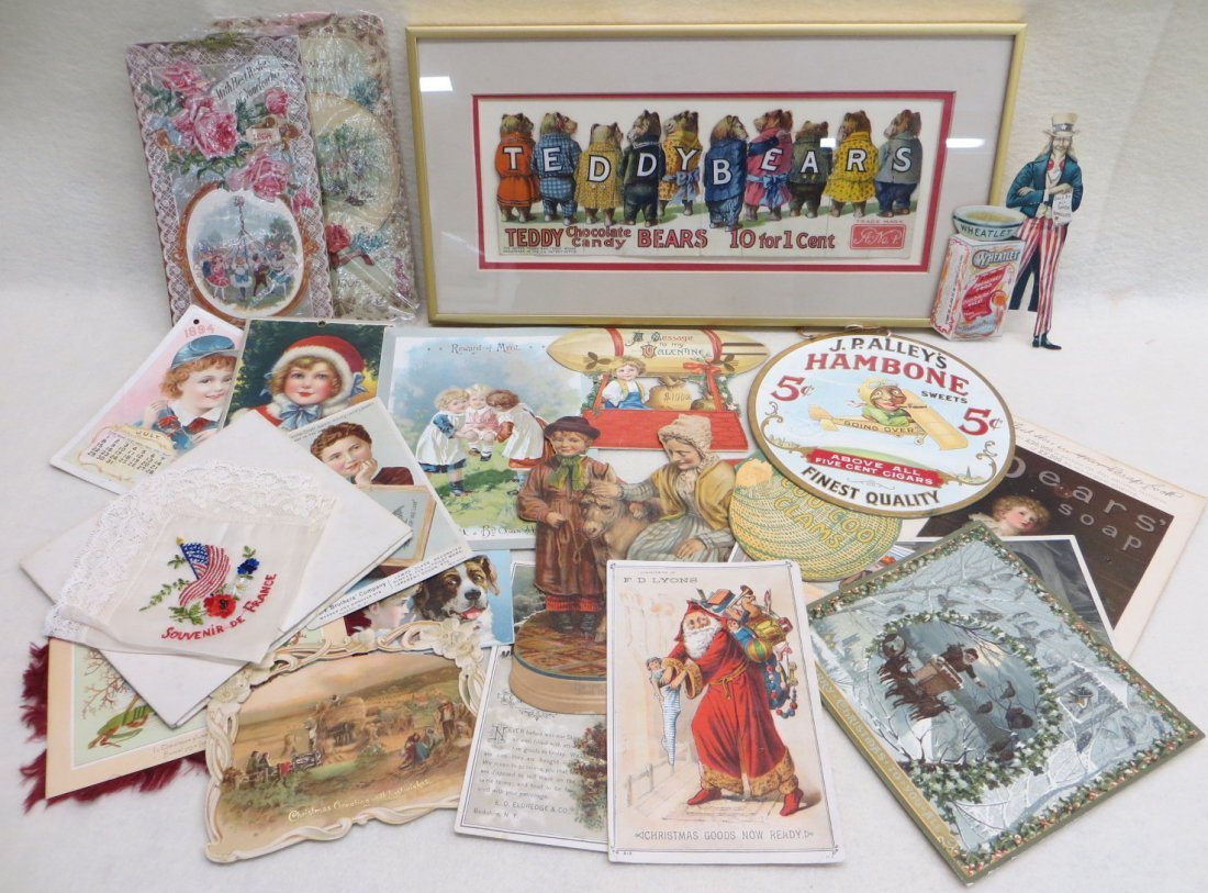 Collection of various ephemera including framed die cut