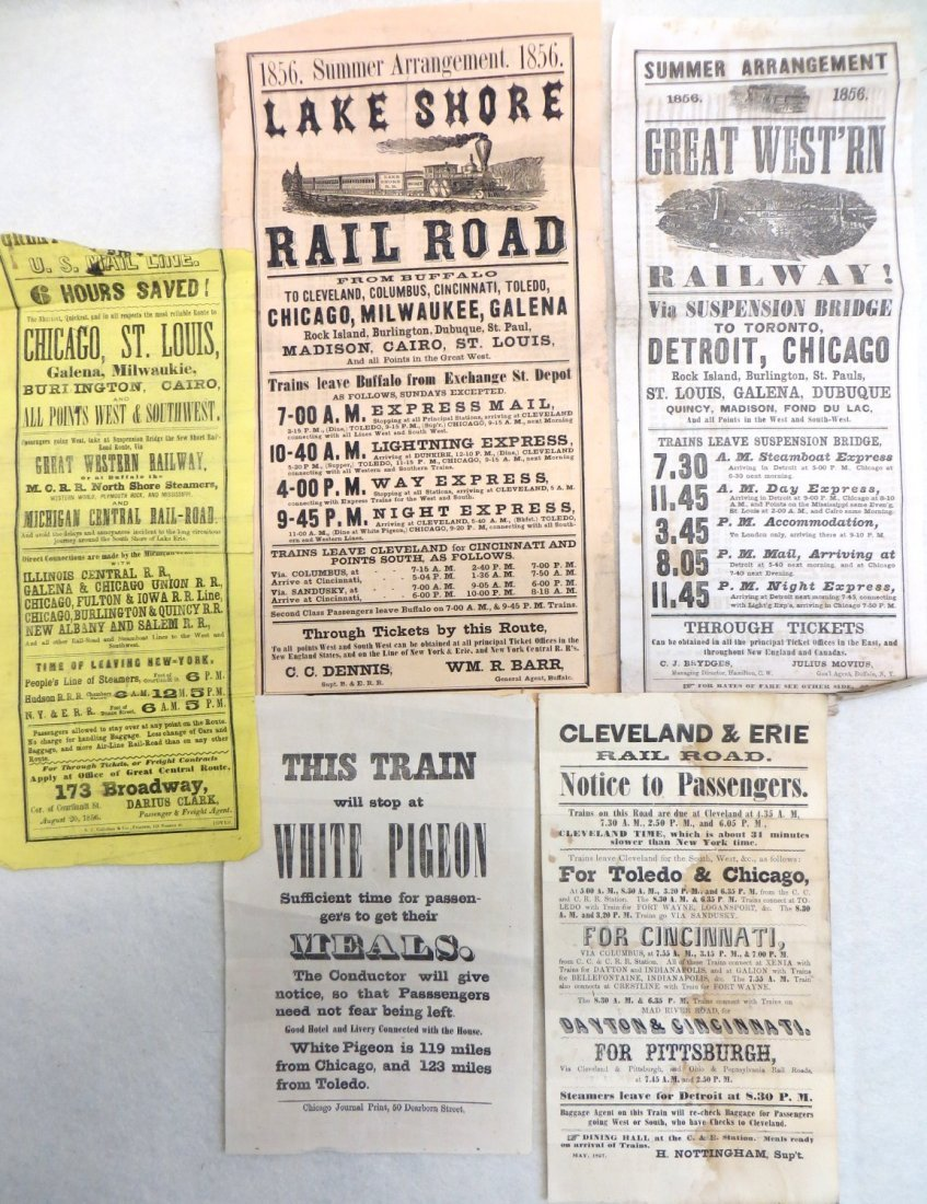 Collection of 5 broadsides for mid-western trains,