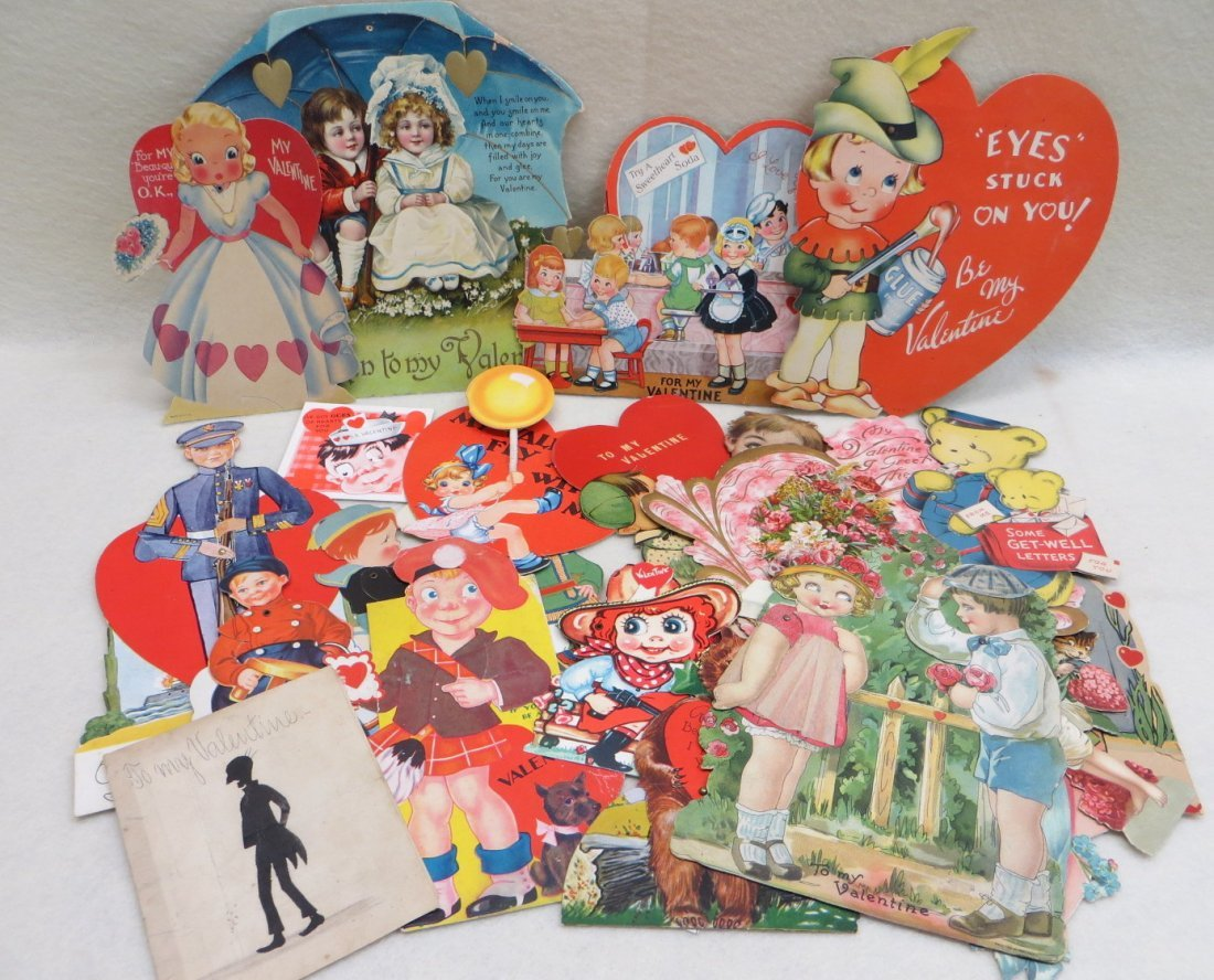 Collection of old Valentine cards, and other holiday