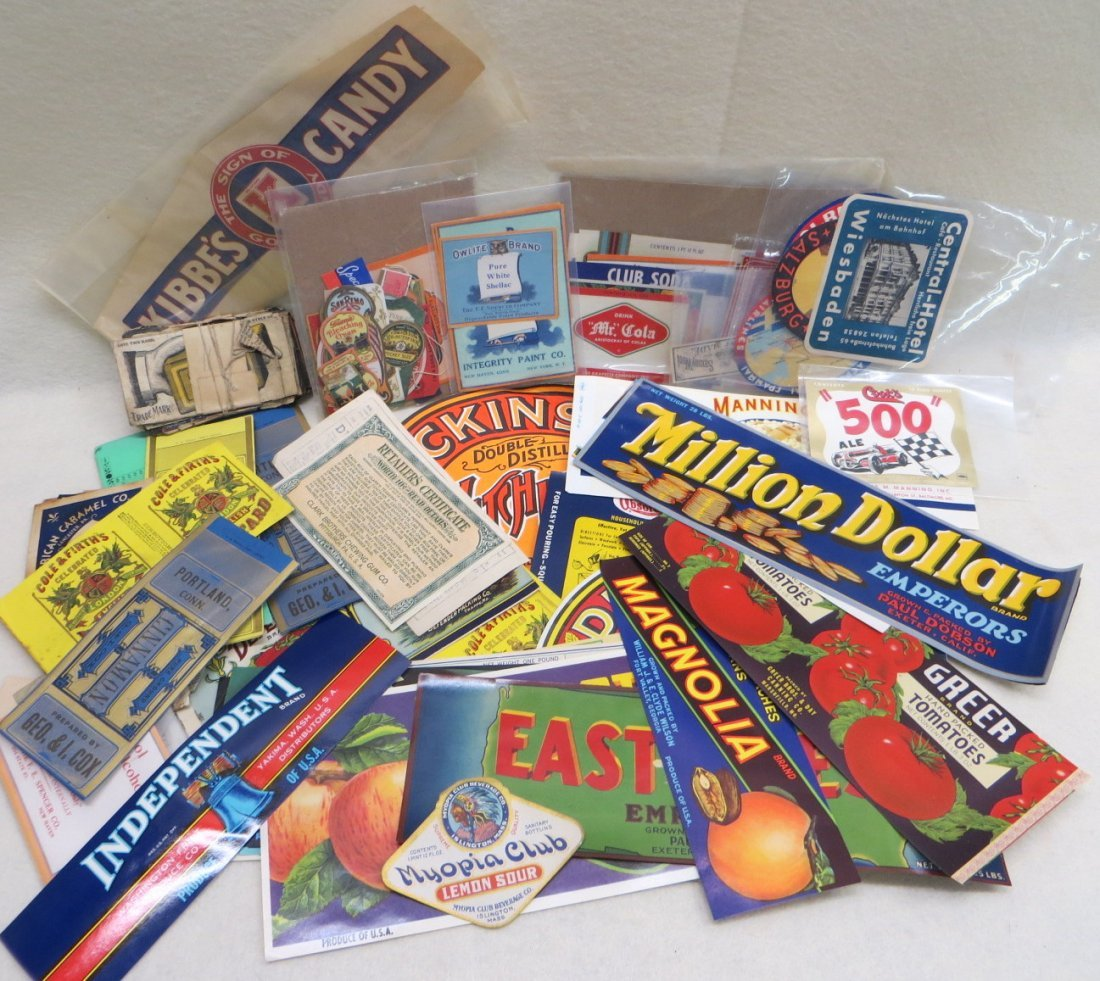 Collection of advertising food labels including fruit