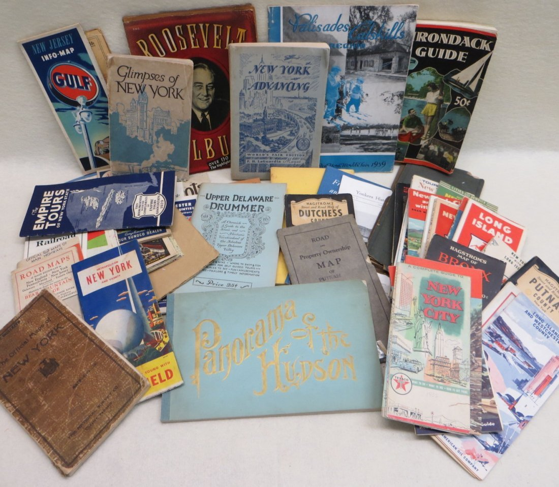 Collection of mostly American travel guides and gas