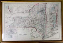 Framed hand colored map of New York State  Copyright