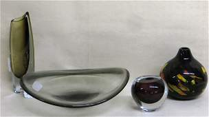 Four pieces of mid-century style art glass including