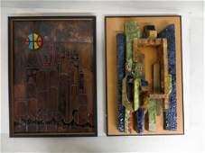 Two modernistic Israeli sculpturepaintings including