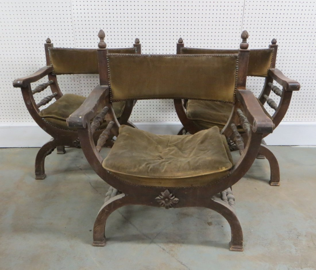 Spanish revival arm chairs Savonarola style