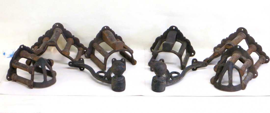 Lot of 8 horse harness holders in iron and wood - 6