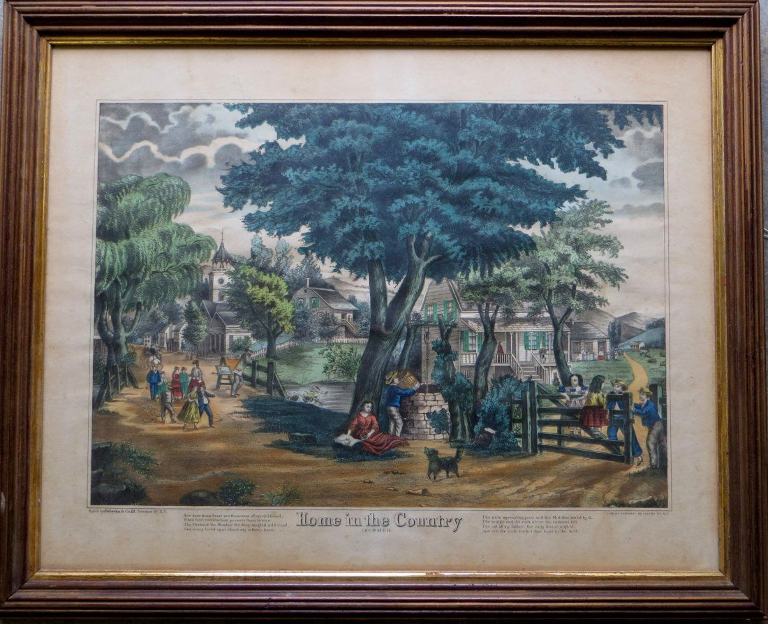 Large folio hand colored lithograph of a country town
