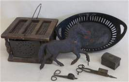 Collection of 6 country items including pierced tin