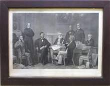 """Large folio steel engraving entitled """"The First Reading"""