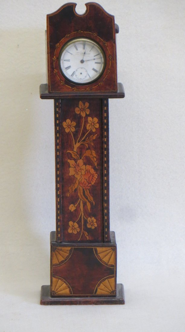 Miniature grandfather clock pocket watch holder