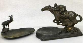 Two figural metal ashtrays including bronze with