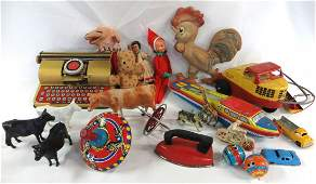 A large lot of childrens toys including a tin Berwin