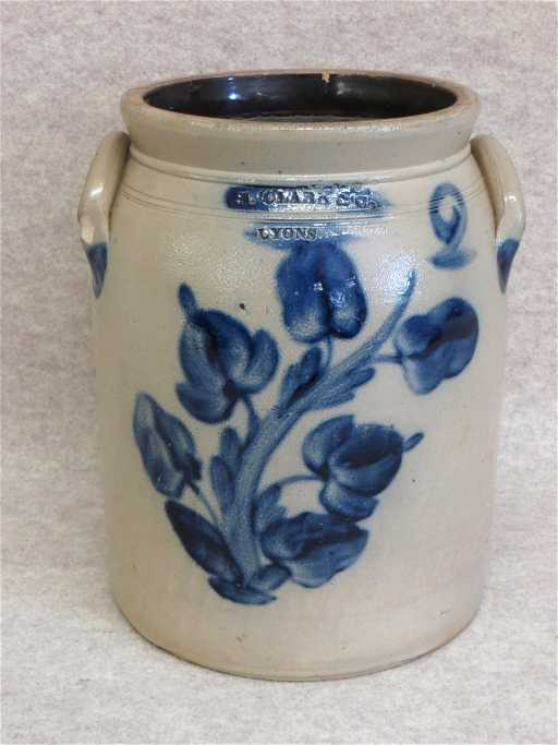 Stoneware Crock 2 Gallon Decorated With 5 Blue