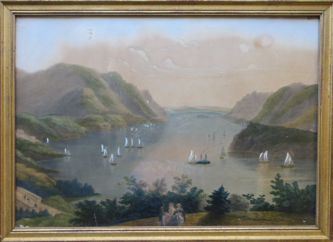 Hand colored Hudson River lithograph depicting view