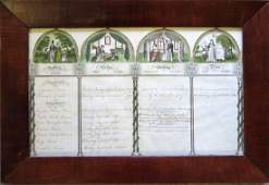 Hand colored Family Register print probably cut down to