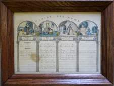 Hand colored Family Register print published by N.