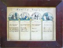 Hand colored Family Register print published by