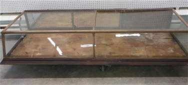 Large country store oak slant front counter top display