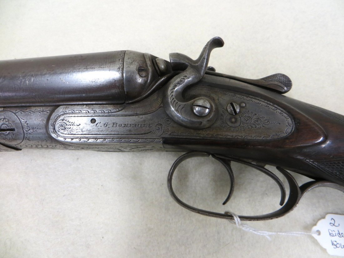 C.G. Bonehill double barrel SxS hammer 12 gauge shotgun - 7