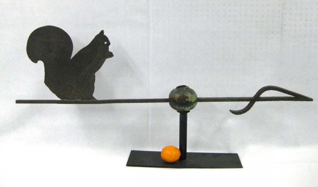 Silhouette sheet metal squirrel weathervane with cast