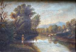 O/C Country genre scene with man fishing in pond in