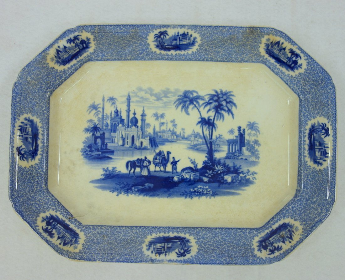 Large octagonal blue and white transferware plate