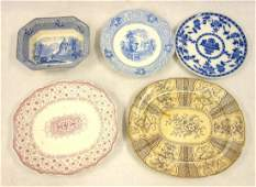 Five pieces of mostly Staffordshire transferware china