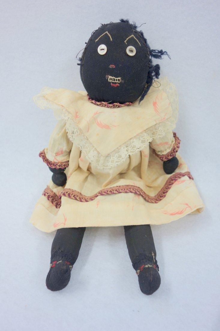 Two folk art cloth dolls, one Black golliwog doll (hair - 2