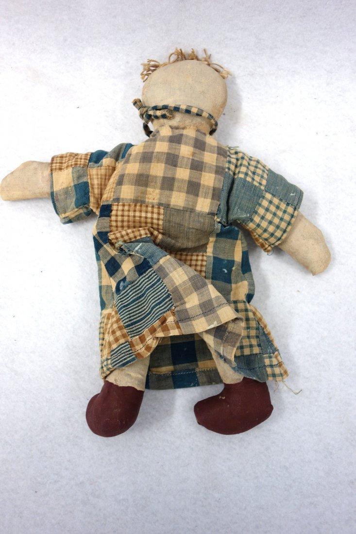 Two folk art cloth dolls, one Black golliwog doll (hair - 6