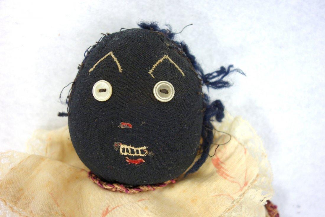 Two folk art cloth dolls, one Black golliwog doll (hair - 8