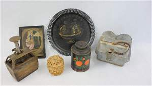 Grouping of 6 country items including round stenciled