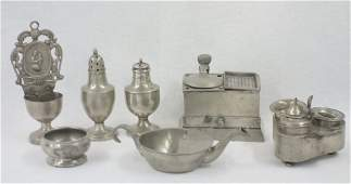 Collection of 6 early pewter objects including 2 desk