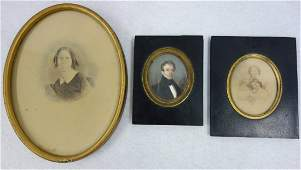 Three miniature paintings including oil portrait of