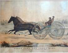 """Hand colored trotting lithograph entitled """"Black Hawk"""