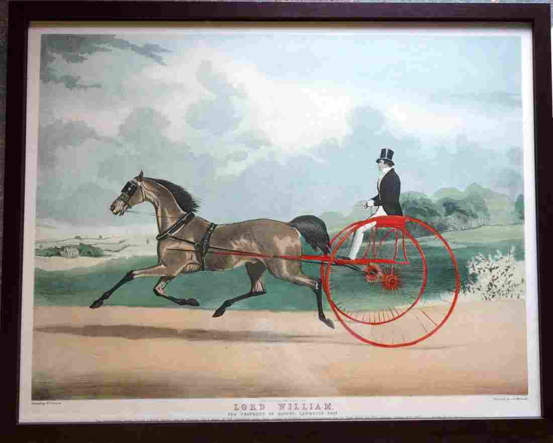 Hand colored lithograph horse pulling sulky with driver