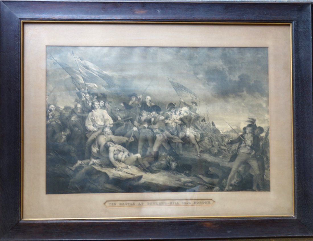 "Large folio engraving entitled ""The Battle at Bunker's"