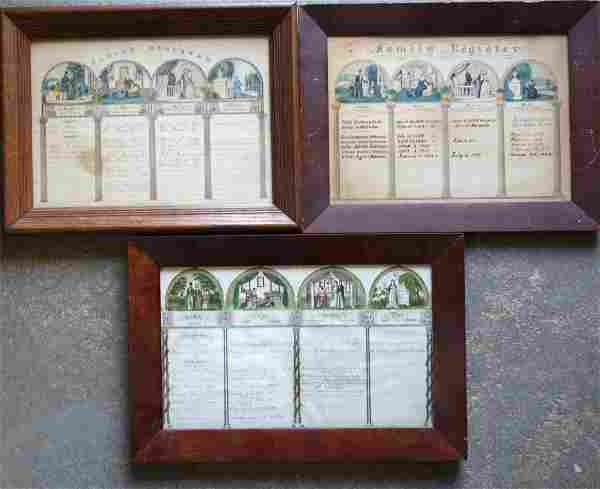 """Three 19th century """"Family Register"""" hand colored"""