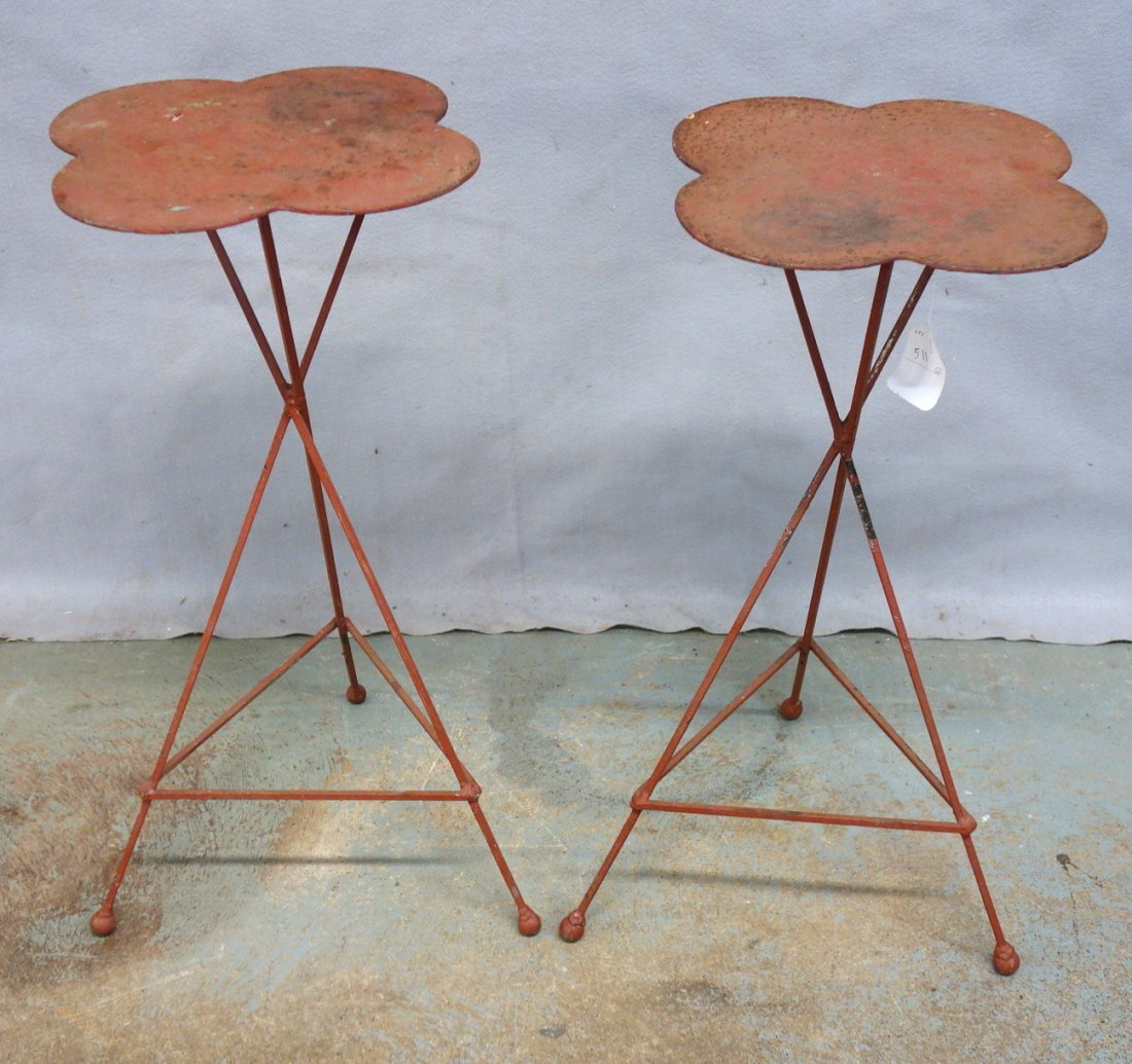 Two custom made iron plant stands with 4 leaf clover