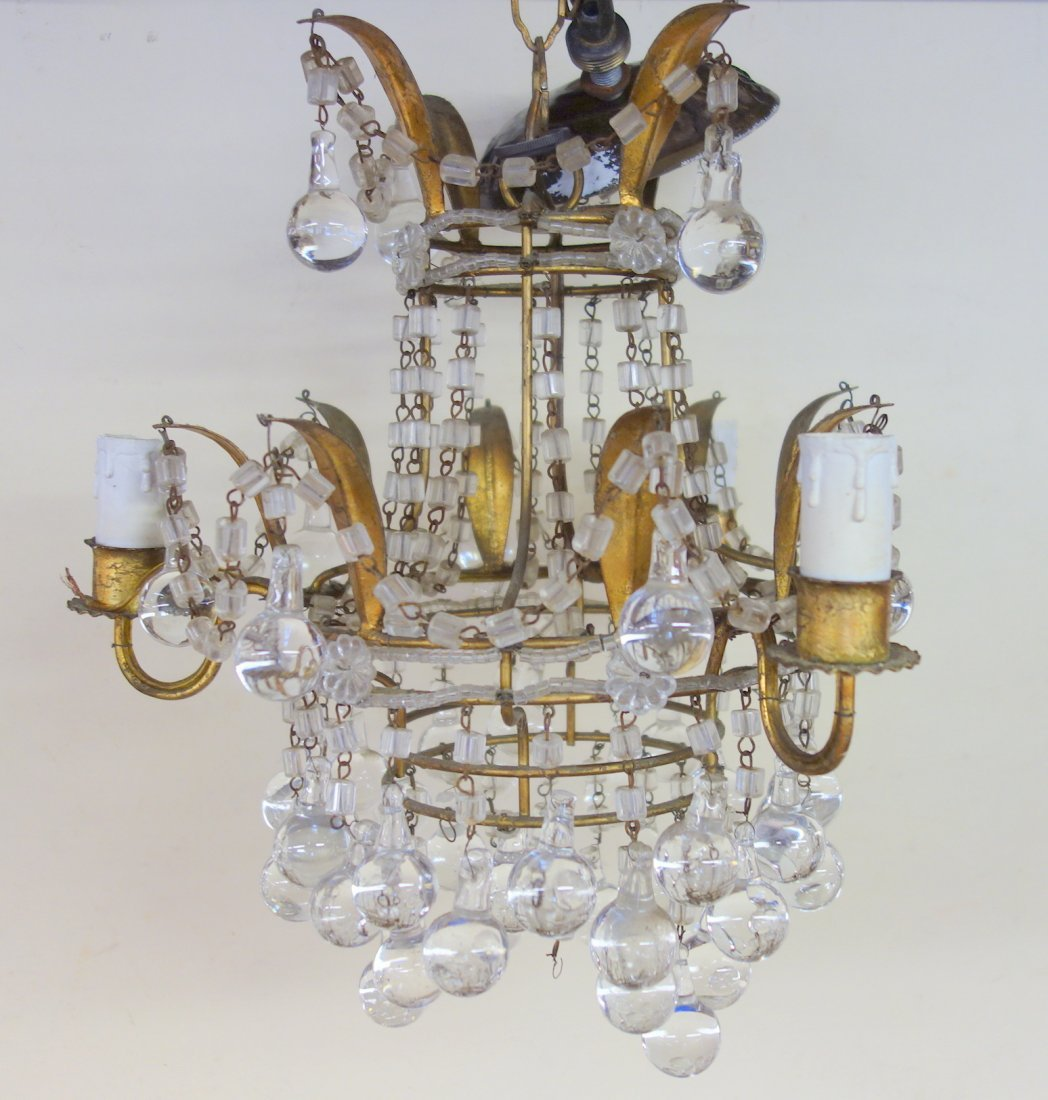 Small fancy gilded metal ceiling fixture with hanging