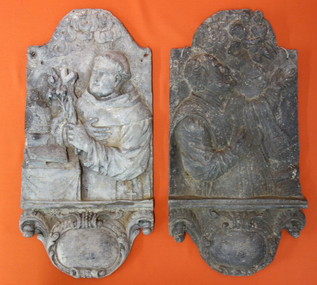 Two 19th century lead wall plaques, probably French,