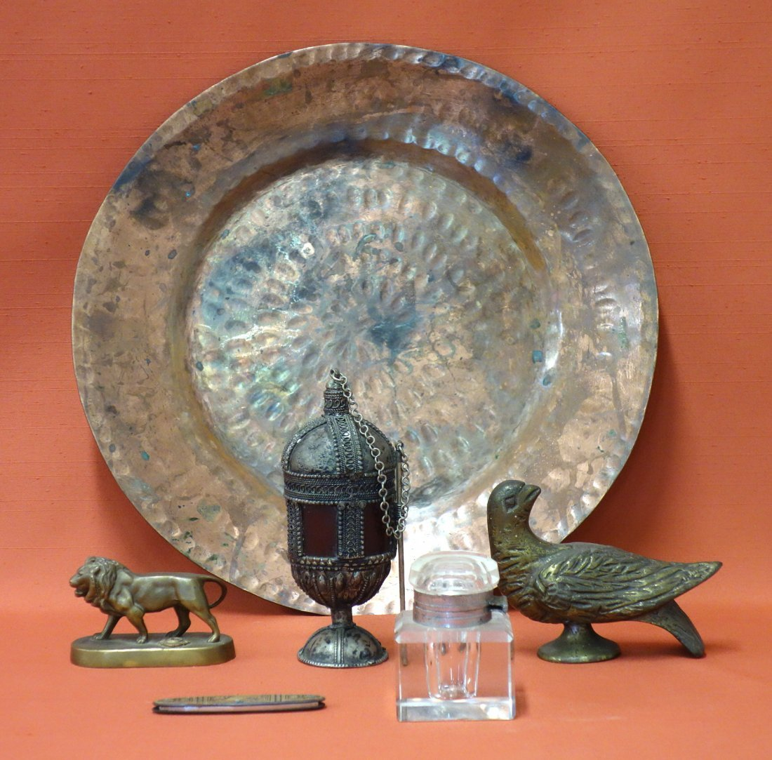 Grouping of mostly metal objects including a brass dove