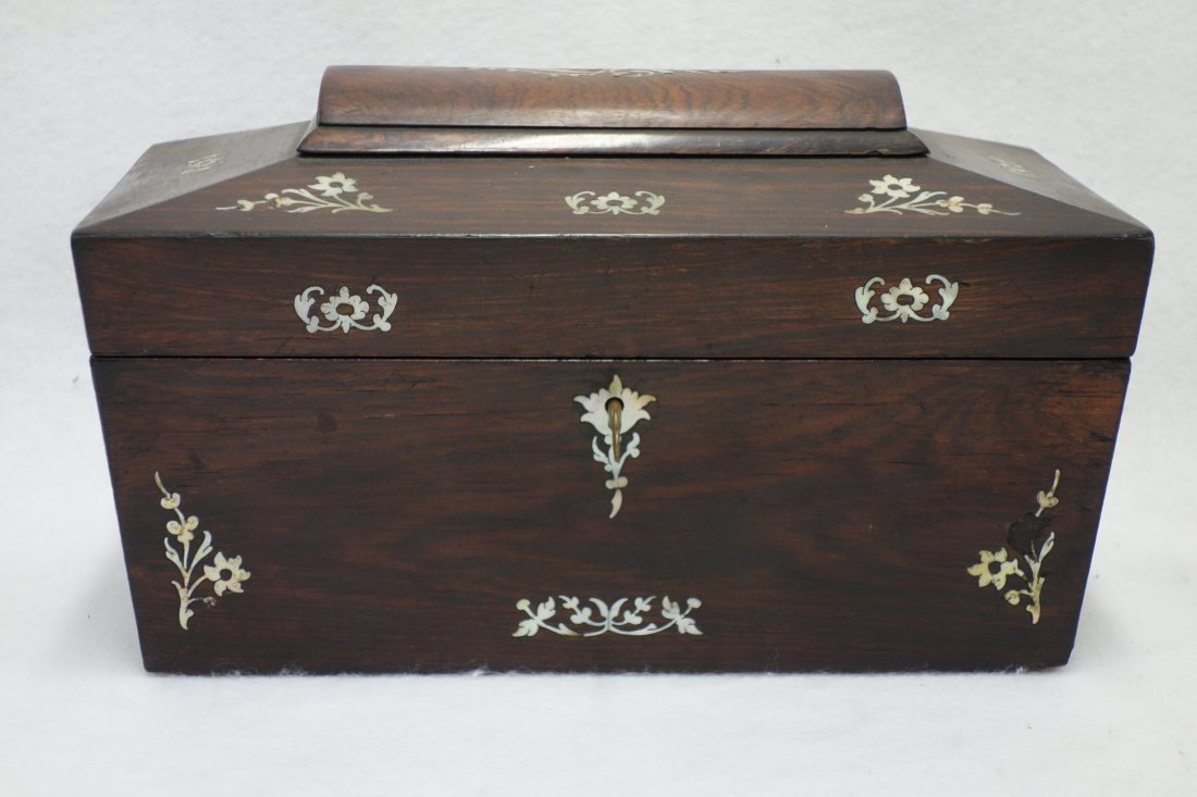 "Rosewood tea caddy with mother of pearl inlay 7"" h x"