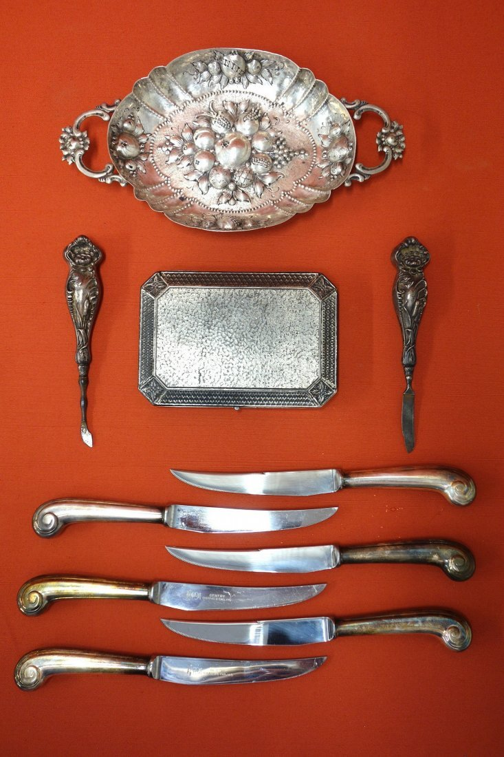 Grouping of silver and silver plate objects including