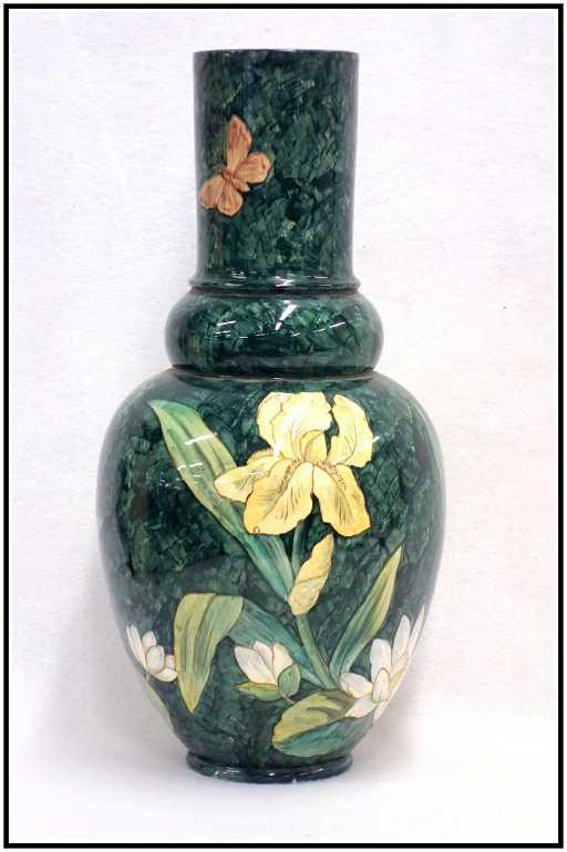 John Bennett Art Pottery Vase Decorated With Flowers
