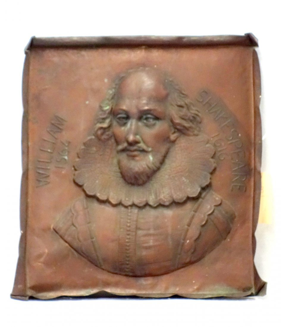 Copper wall plaque of William Shakespeare, late 19th to