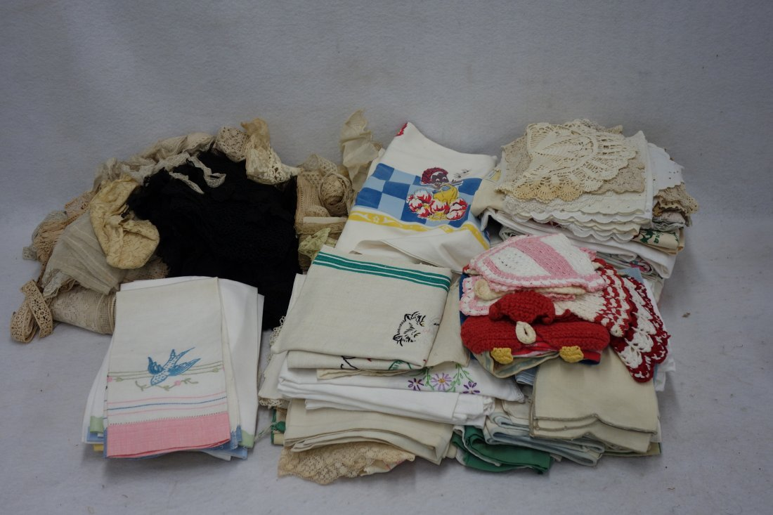 Grouping of textiles including box of Victorian lace