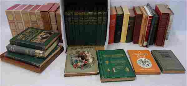 Three boxes of books related to Charles Dickens