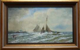 WC Seascape with sailing vessels in ocean one pulling